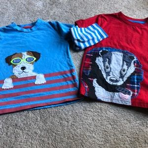Two boys mini Boden tee shirts 4-5Y